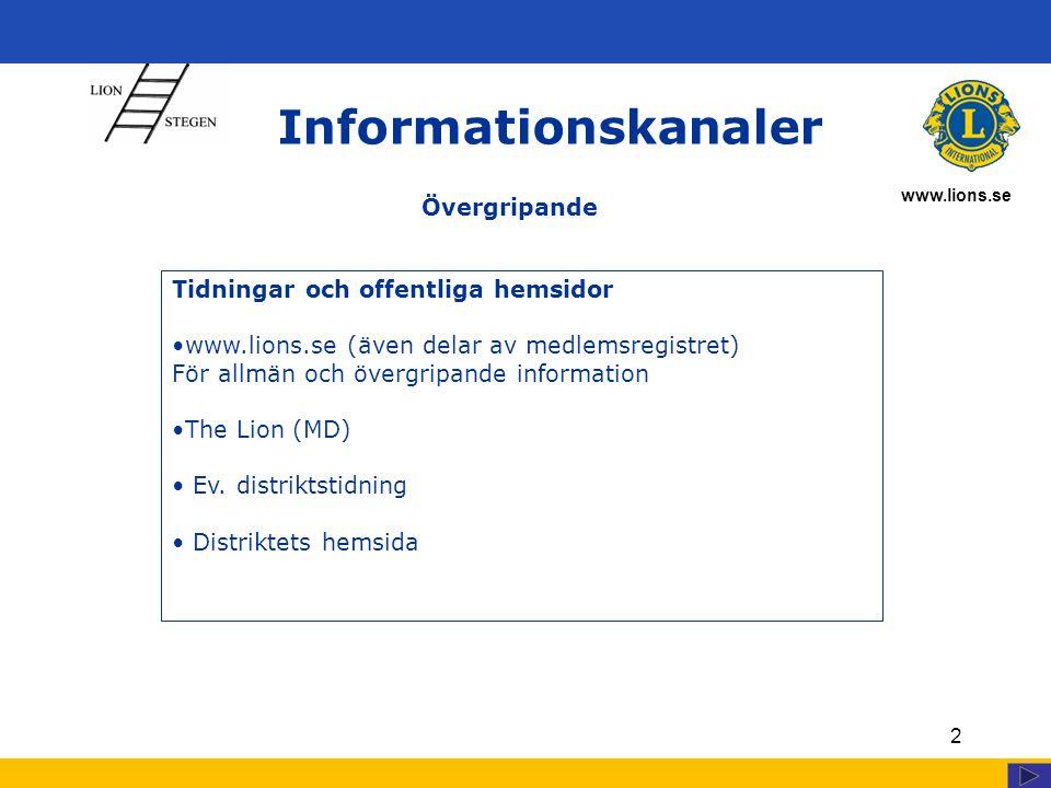 www.lions.se 2 Informationskanaler Tidningar och offentliga hemsidor www.lions.se (även delar av medlemsregistret) För allmän och övergripande information The Lion (MD) Ev.
