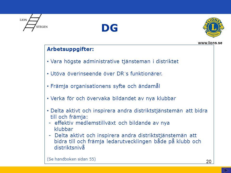 www.lions.se 20 DG Arbetsuppgifter: Vara högste administrative tjänsteman i distriktet Utöva överinseende över DR´s funktionärer.