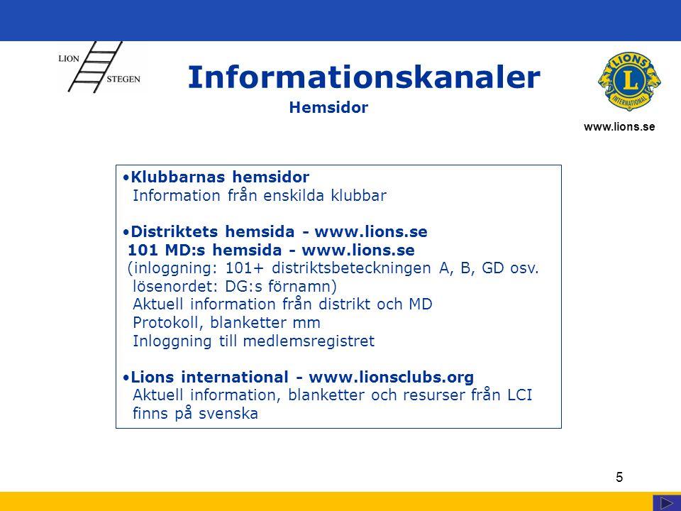 www.lions.se 5 Informationskanaler Klubbarnas hemsidor Information från enskilda klubbar Distriktets hemsida - www.lions.se 101 MD:s hemsida - www.lions.se (inloggning: 101+ distriktsbeteckningen A, B, GD osv.