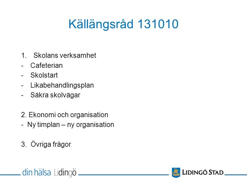 Källängsråd 131010 1.Skolans verksamhet -Cafeterian -Skolstart -Likabehandlingsplan -Säkra skolvägar 2.