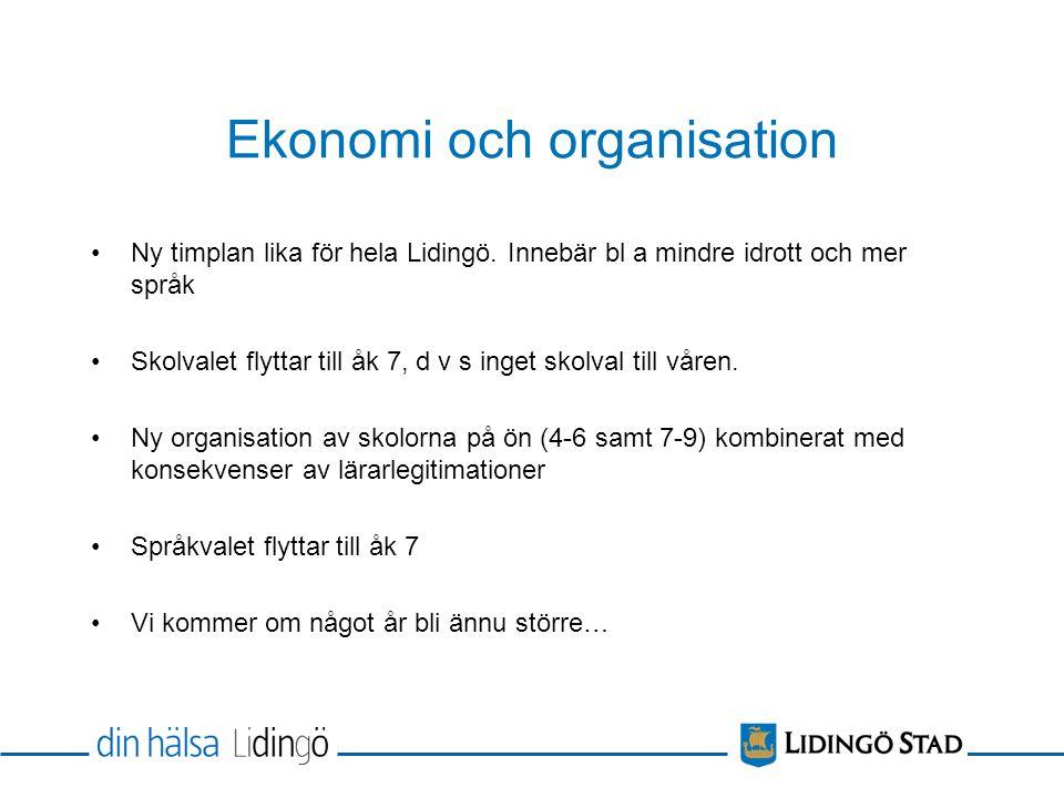 Ekonomi och organisation Ny timplan lika för hela Lidingö.