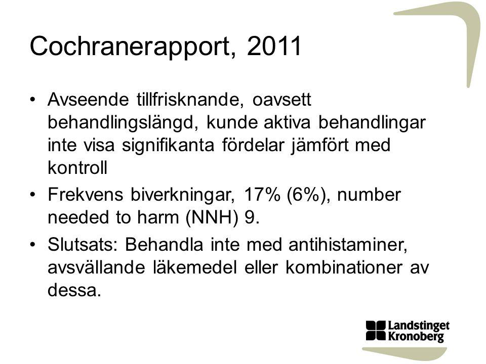 Cochranerapport, 2011 Avseende tillfrisknande, oavsett behandlingslängd, kunde aktiva behandlingar inte visa signifikanta fördelar jämfört med kontroll Frekvens biverkningar, 17% (6%), number needed to harm (NNH) 9.