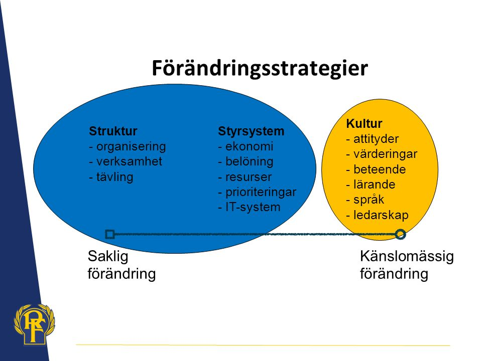 Saklig förändring Känslomässig förändring Styrsystem - ekonomi - belöning - resurser - prioriteringar - IT-system Struktur - organisering - verksamhet - tävling Kultur - attityder - värderingar - beteende - lärande - språk - ledarskap Förändringsstrategier