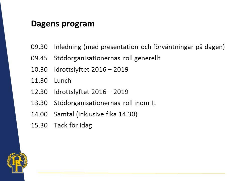 Dagens program 09.30Inledning (med presentation och förväntningar på dagen) 09.45Stödorganisationernas roll generellt 10.30Idrottslyftet 2016 – 2019 1