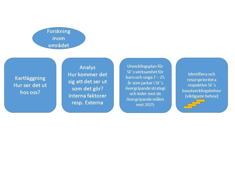 Utvecklingsplan för SF´s verksamhet för barn och unga 7 – 25 år som jackar i SF´s övergripande strategi och leder mot de övergripande målen mot 2025 Identifiera och resursprioritera respektive SF´s basutvecklingsbehov (viktigaste behov) Analys Hur kommer det sig att det ser ut som det gör.
