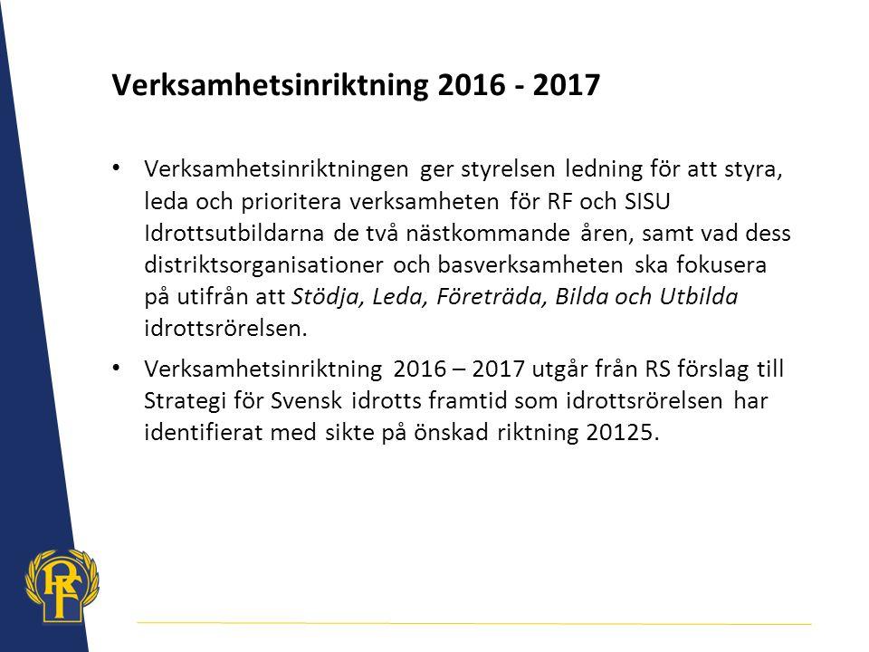 Verksamhetsinriktning 2016 - 2017 Verksamhetsinriktningen ger styrelsen ledning för att styra, leda och prioritera verksamheten för RF och SISU Idrott