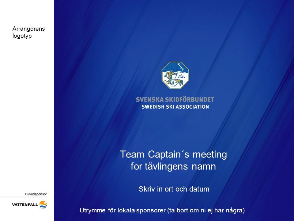 Team Captain´s meeting for tävlingens namn Skriv in ort och datum Utrymme för lokala sponsorer (ta bort om ni ej har några) Arrangörens logotyp