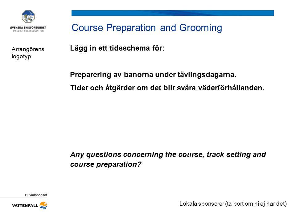 Course Preparation and Grooming Lägg in ett tidsschema för: Preparering av banorna under tävlingsdagarna. Tider och åtgärder om det blir svåra väderfö