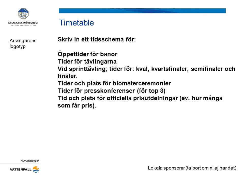 Timetable Skriv in ett tidsschema för: Öppettider för banor Tider för tävlingarna Vid sprinttävling; tider för: kval, kvartsfinaler, semifinaler och f
