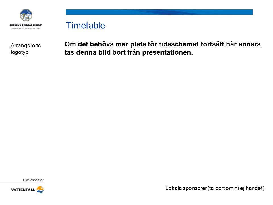 Timetable Om det behövs mer plats för tidsschemat fortsätt här annars tas denna bild bort från presentationen. Arrangörens logotyp Lokala sponsorer (t