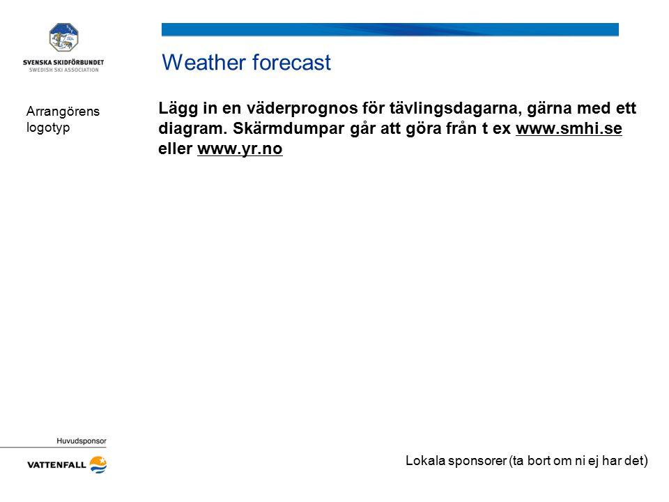 Weather forecast Lägg in en väderprognos för tävlingsdagarna, gärna med ett diagram. Skärmdumpar går att göra från t ex www.smhi.se eller www.yr.nowww