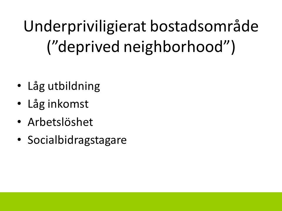 """Underpriviligierat bostadsområde (""""deprived neighborhood"""") Låg utbildning Låg inkomst Arbetslöshet Socialbidragstagare"""
