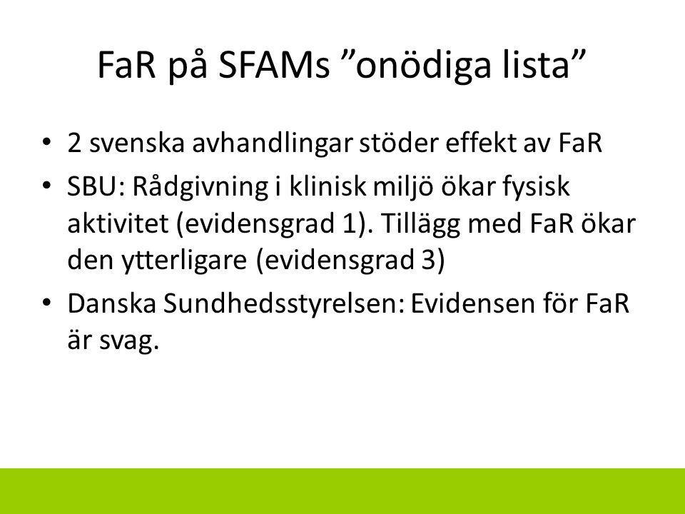 """FaR på SFAMs """"onödiga lista"""" 2 svenska avhandlingar stöder effekt av FaR SBU: Rådgivning i klinisk miljö ökar fysisk aktivitet (evidensgrad 1). Tilläg"""
