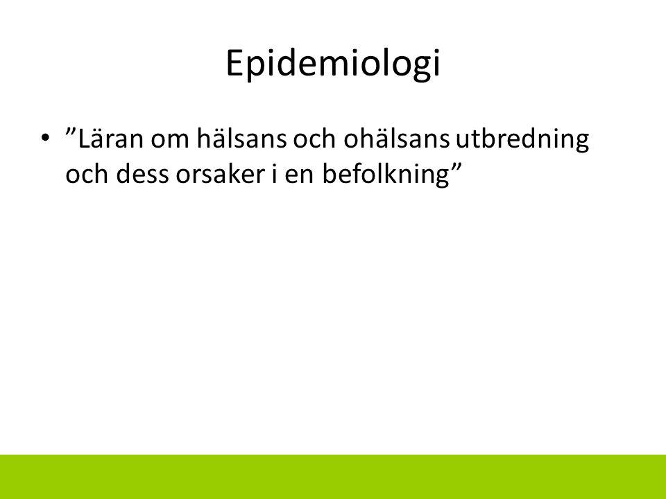 """Epidemiologi """"Läran om hälsans och ohälsans utbredning och dess orsaker i en befolkning"""""""