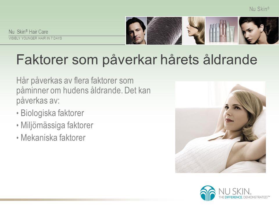 Nu Skin ® Hair Care VISIBLY YOUNGER HAIR IN 7 DAYS Nu Skin ® Faktorer som påverkar hårets åldrande Hår påverkas av flera faktorer som påminner om hude