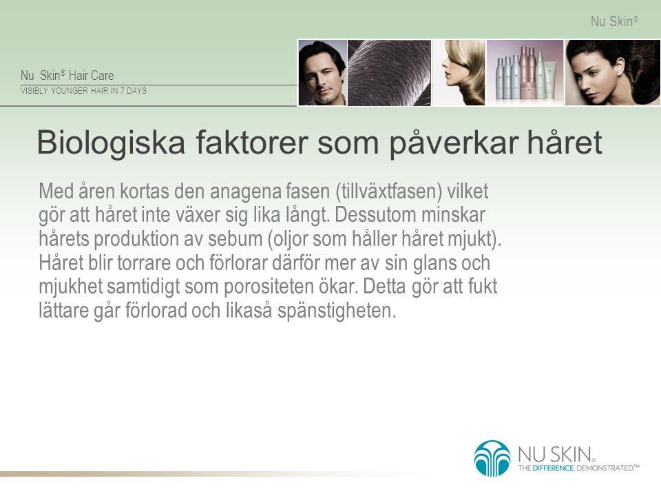 Nu Skin ® Hair Care VISIBLY YOUNGER HAIR IN 7 DAYS Nu Skin ® Biologiska faktorer som påverkar håret Med åren kortas den anagena fasen (tillväxtfasen)