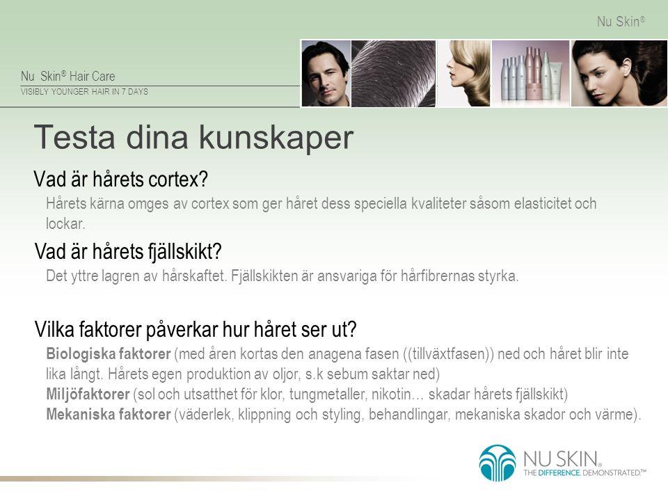 Nu Skin ® Hair Care VISIBLY YOUNGER HAIR IN 7 DAYS Nu Skin ® Testa dina kunskaper Vad är hårets cortex? Hårets kärna omges av cortex som ger håret des