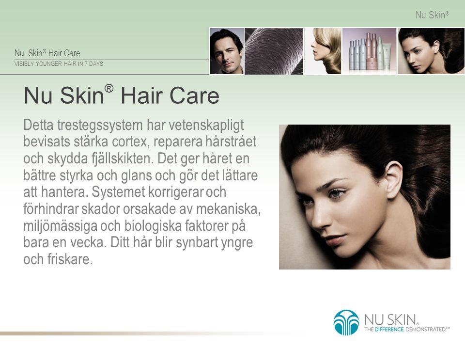 Nu Skin ® Hair Care VISIBLY YOUNGER HAIR IN 7 DAYS Nu Skin ® Nu Skin ® Hair Care Detta trestegssystem har vetenskapligt bevisats stärka cortex, repare
