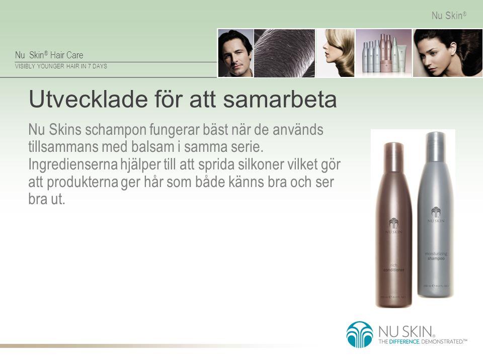 Nu Skin ® Hair Care VISIBLY YOUNGER HAIR IN 7 DAYS Nu Skin ® Utvecklade för att samarbeta Nu Skins schampon fungerar bäst när de används tillsammans m