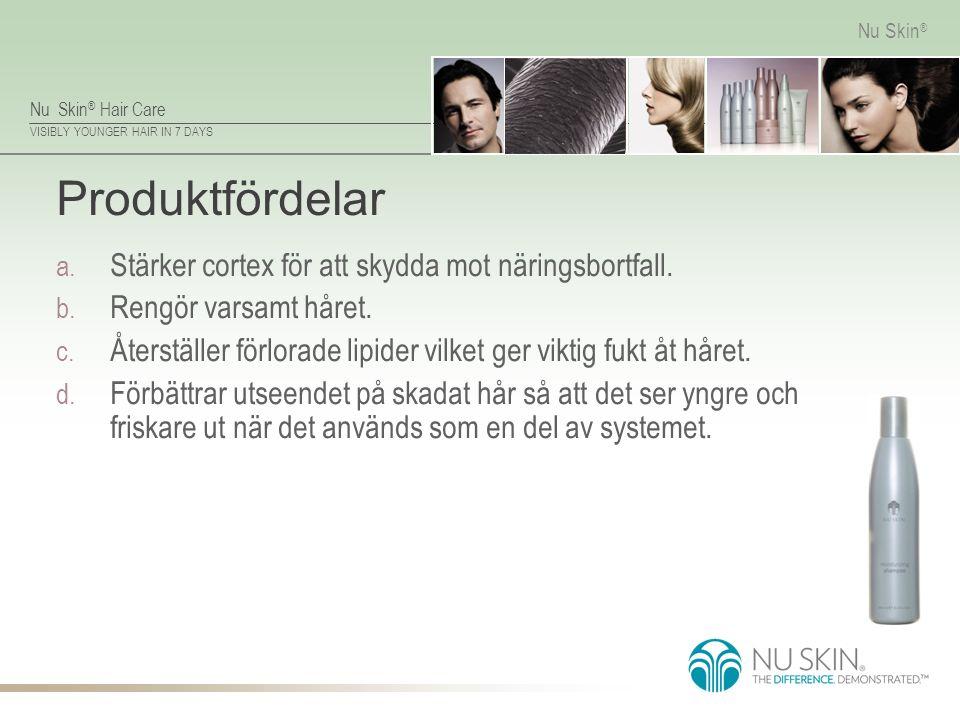 Nu Skin ® Hair Care VISIBLY YOUNGER HAIR IN 7 DAYS Nu Skin ® Produktfördelar a. Stärker cortex för att skydda mot näringsbortfall. b. Rengör varsamt h