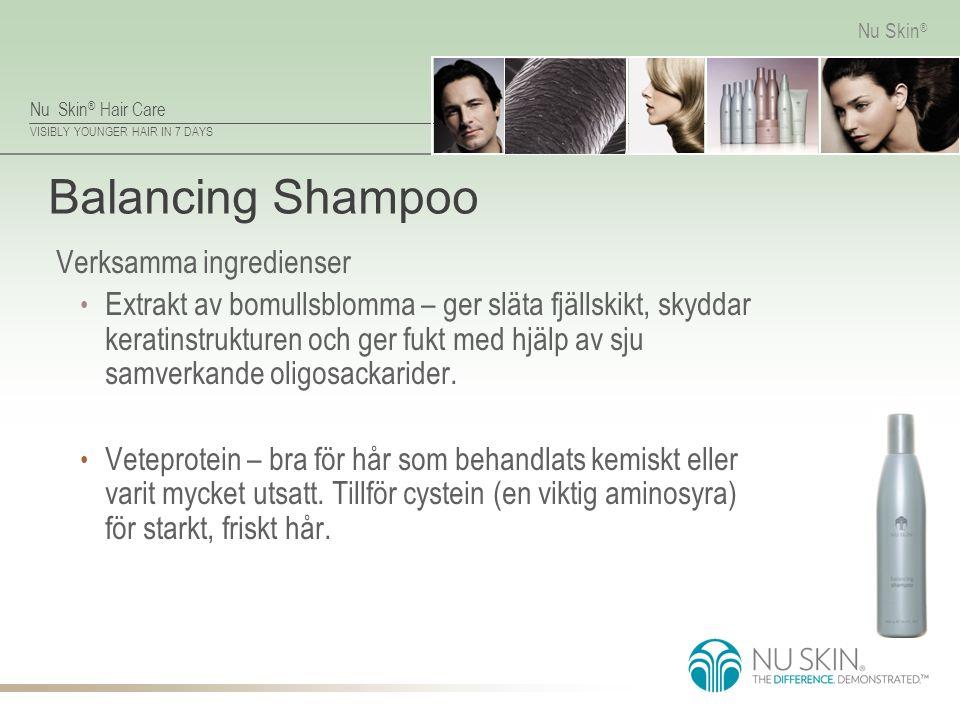 Nu Skin ® Hair Care VISIBLY YOUNGER HAIR IN 7 DAYS Nu Skin ® Balancing Shampoo Verksamma ingredienser Extrakt av bomullsblomma – ger släta fjällskikt,