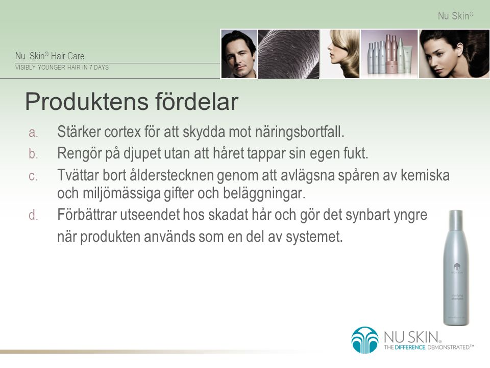 Nu Skin ® Hair Care VISIBLY YOUNGER HAIR IN 7 DAYS Nu Skin ® Reparerar hårskaftet