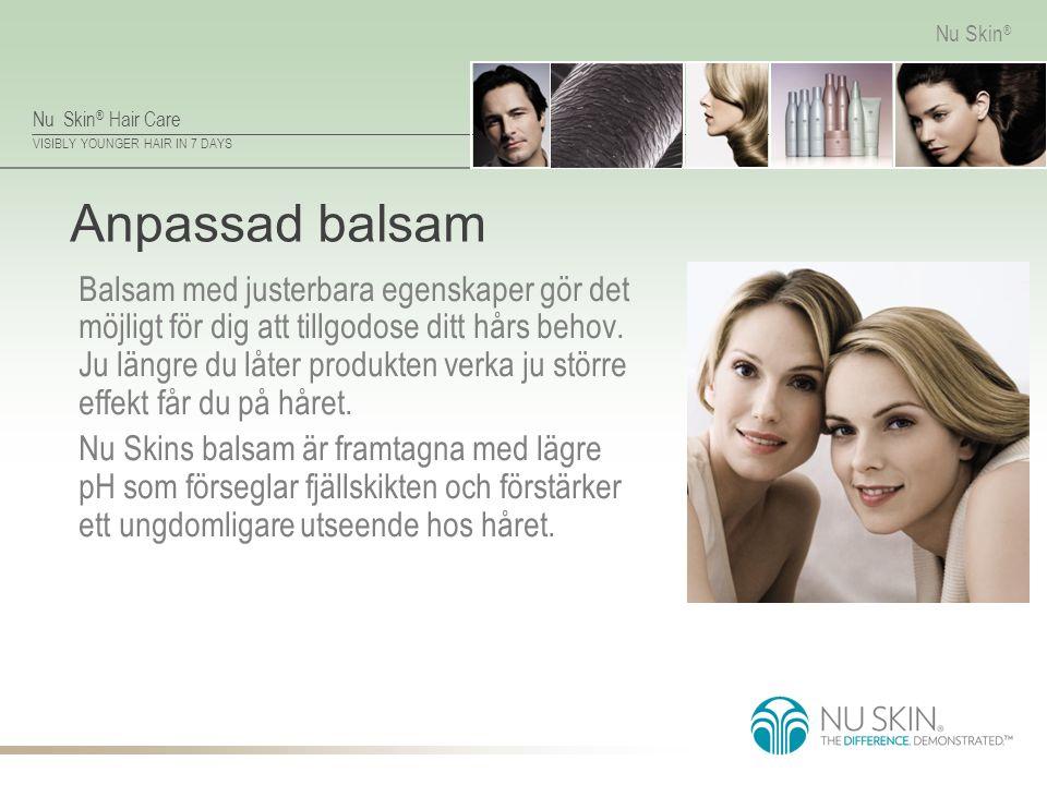Nu Skin ® Hair Care VISIBLY YOUNGER HAIR IN 7 DAYS Nu Skin ® Anpassad balsam Balsam med justerbara egenskaper gör det möjligt för dig att tillgodose d
