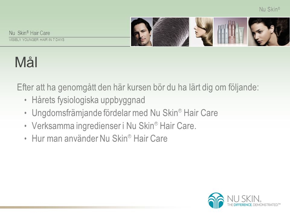 Nu Skin ® Hair Care VISIBLY YOUNGER HAIR IN 7 DAYS Nu Skin ® Översikt av läroplanen