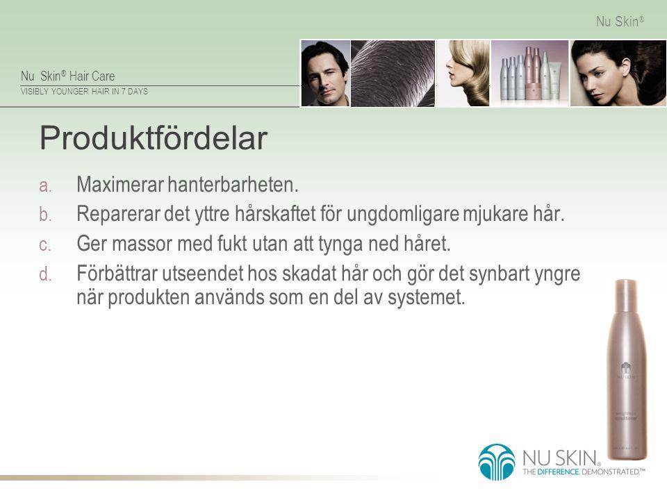 Nu Skin ® Hair Care VISIBLY YOUNGER HAIR IN 7 DAYS Nu Skin ® Produktfördelar a. Maximerar hanterbarheten. b. Reparerar det yttre hårskaftet för ungdom