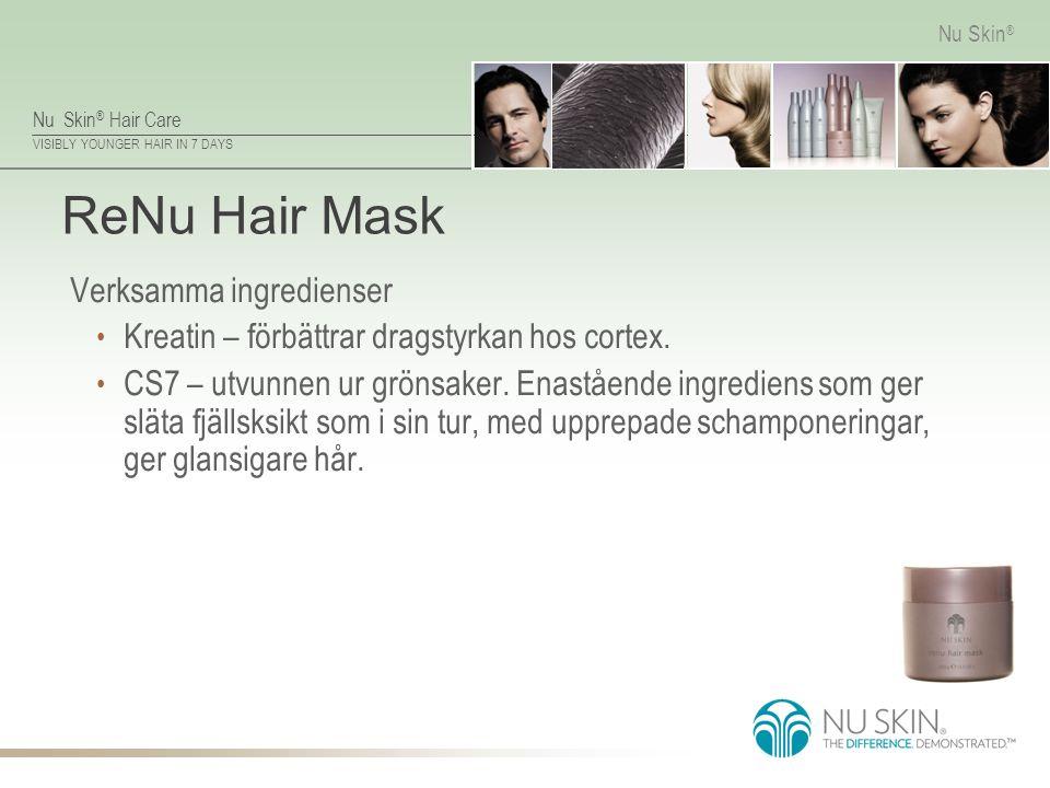 Nu Skin ® Hair Care VISIBLY YOUNGER HAIR IN 7 DAYS Nu Skin ® ReNu Hair Mask Verksamma ingredienser Kreatin – förbättrar dragstyrkan hos cortex. CS7 –