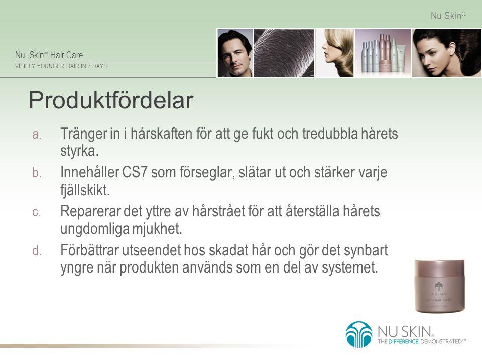 Nu Skin ® Hair Care VISIBLY YOUNGER HAIR IN 7 DAYS Nu Skin ® Produktfördelar a. Tränger in i hårskaften för att ge fukt och tredubbla hårets styrka. b