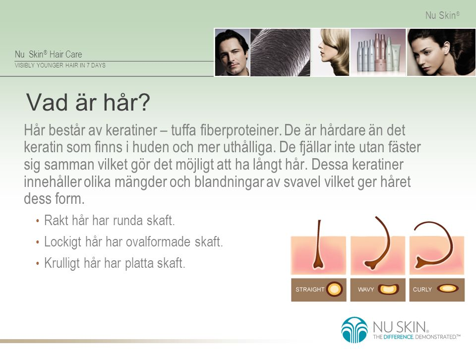 Nu Skin ® Hair Care VISIBLY YOUNGER HAIR IN 7 DAYS Nu Skin ® Hårskaft Hårskaftet består av : Medulla - kärnan Cortex - mellanlagret Fjällskikt – ytterlager, som utsätts för påfrestningar och skador