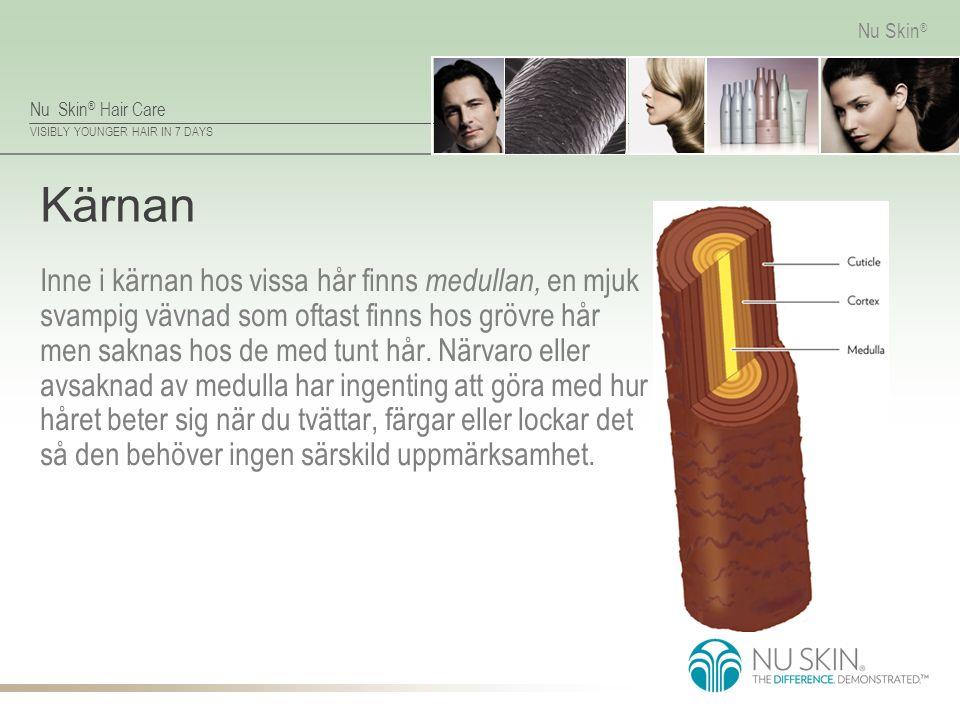 Nu Skin ® Hair Care VISIBLY YOUNGER HAIR IN 7 DAYS Nu Skin ® Kärnan Inne i kärnan hos vissa hår finns medullan, en mjuk svampig vävnad som oftast finn