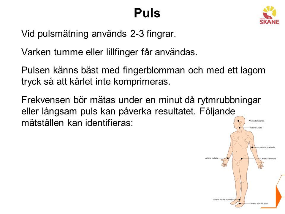 Puls Vid pulsmätning används 2-3 fingrar. Varken tumme eller lillfinger får användas. Pulsen känns bäst med fingerblomman och med ett lagom tryck så a