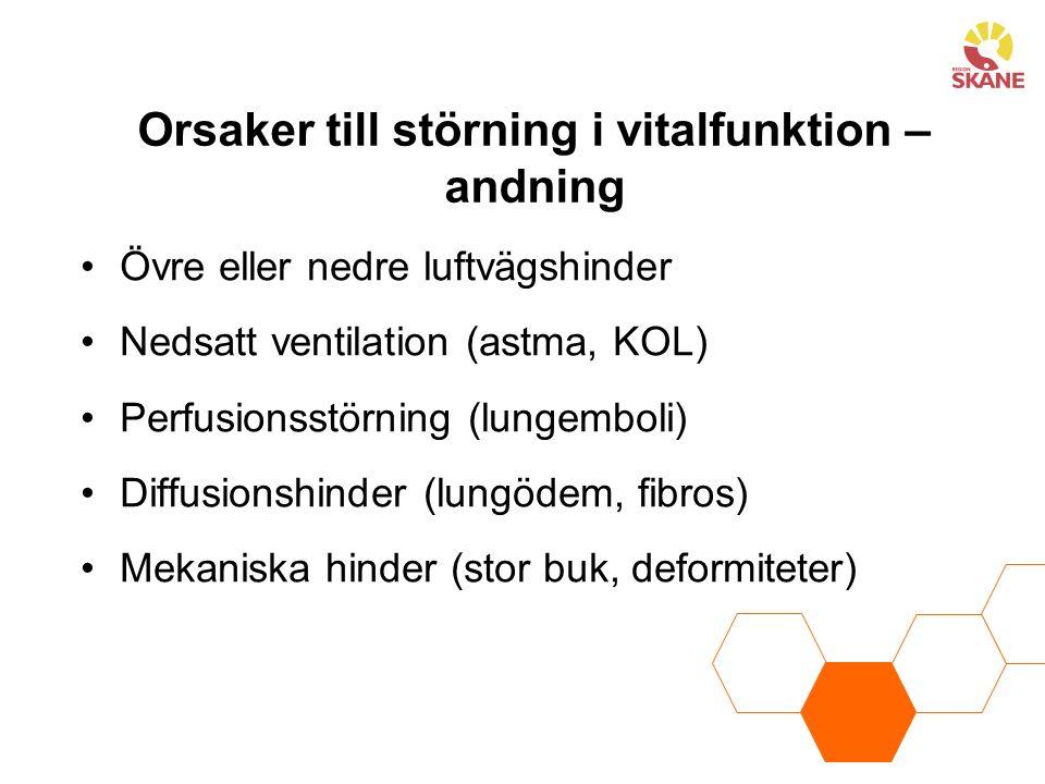 Orsaker till störning i vitalfunktion – andning Övre eller nedre luftvägshinder Nedsatt ventilation (astma, KOL) Perfusionsstörning (lungemboli) Diffusionshinder (lungödem, fibros) Mekaniska hinder (stor buk, deformiteter)