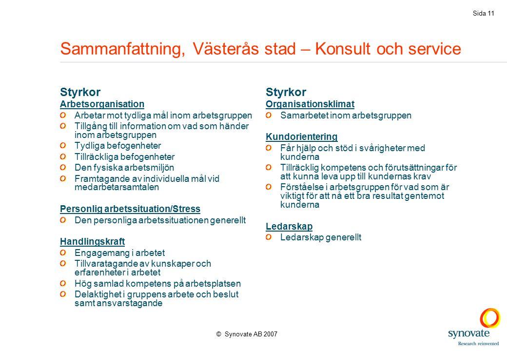 © Synovate AB 2007 Sida 11 Sammanfattning, Västerås stad – Konsult och service Styrkor Arbetsorganisation Arbetar mot tydliga mål inom arbetsgruppen T