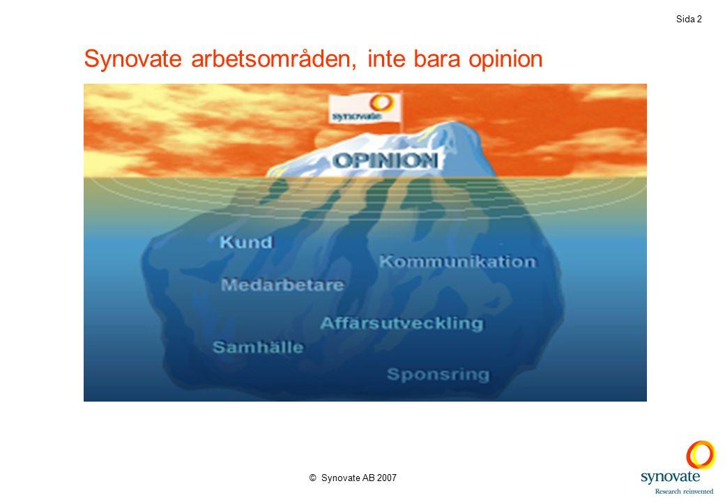 © Synovate AB 2007 Sida 2 Synovate arbetsområden, inte bara opinion