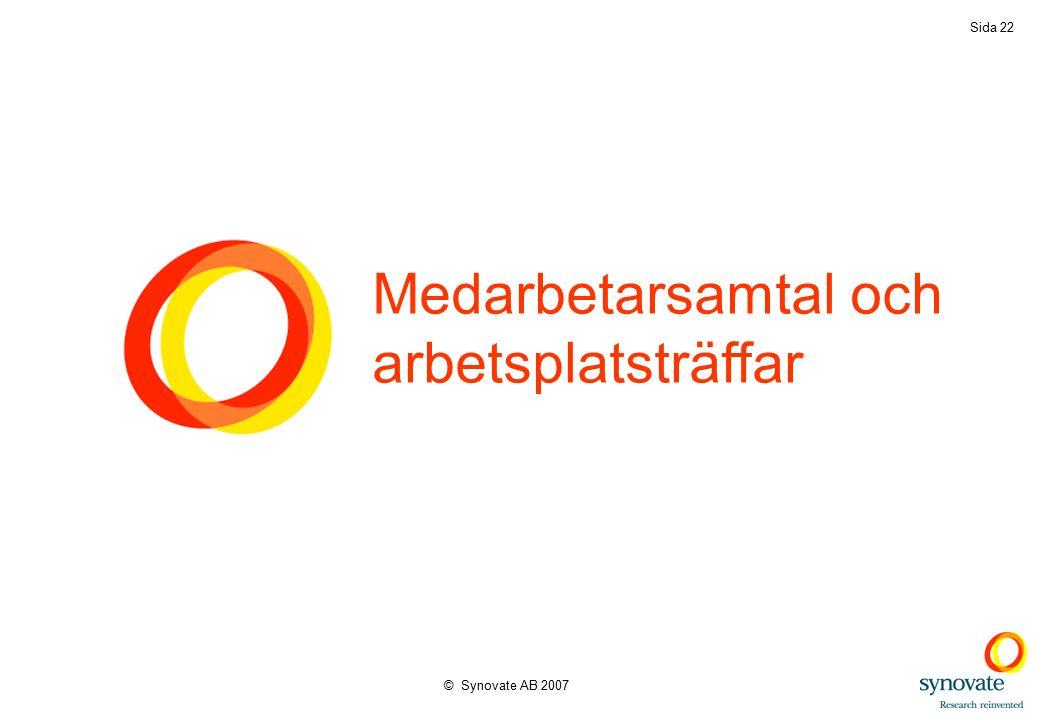 © Synovate AB 2007 Sida 22 Medarbetarsamtal och arbetsplatsträffar