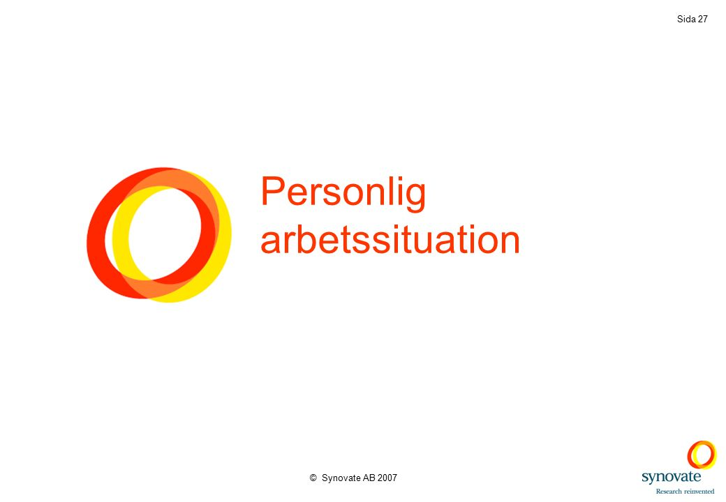 © Synovate AB 2007 Sida 27 Personlig arbetssituation