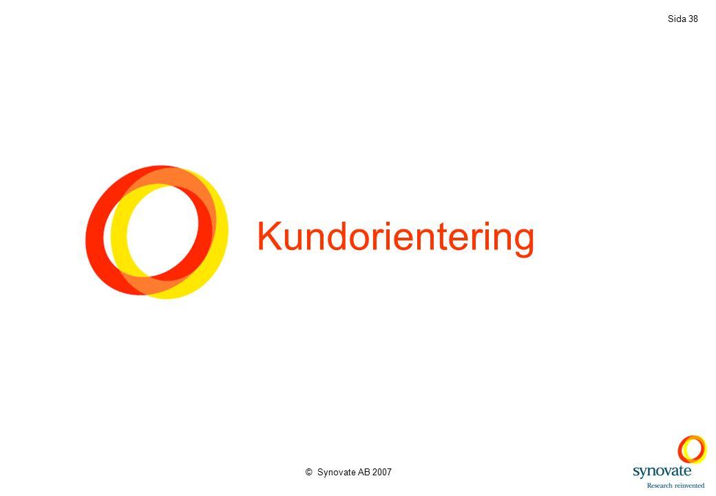 © Synovate AB 2007 Sida 38 Kundorientering