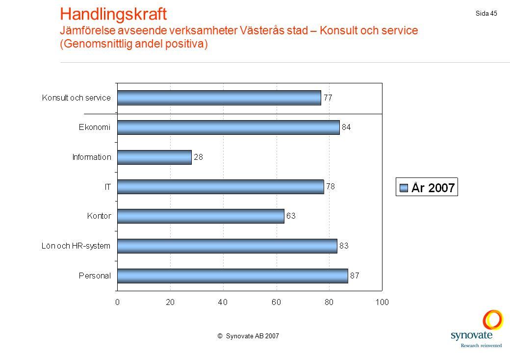 © Synovate AB 2007 Sida 45 Handlingskraft Jämförelse avseende verksamheter Västerås stad – Konsult och service (Genomsnittlig andel positiva)