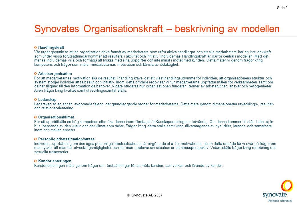© Synovate AB 2007 Sida 5 Synovates Organisationskraft – beskrivning av modellen Handlingskraft Vår utgångspunkt är att en organisation drivs framåt av medarbetare som utför aktiva handlingar och att alla medarbetare har en inre drivkraft som under vissa förutsättningar kommer att resultera i aktivitet och initiativ.