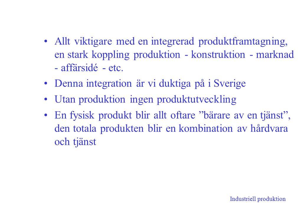 Industriell produktion Allt viktigare med en integrerad produktframtagning, en stark koppling produktion - konstruktion - marknad - affärsidé - etc.
