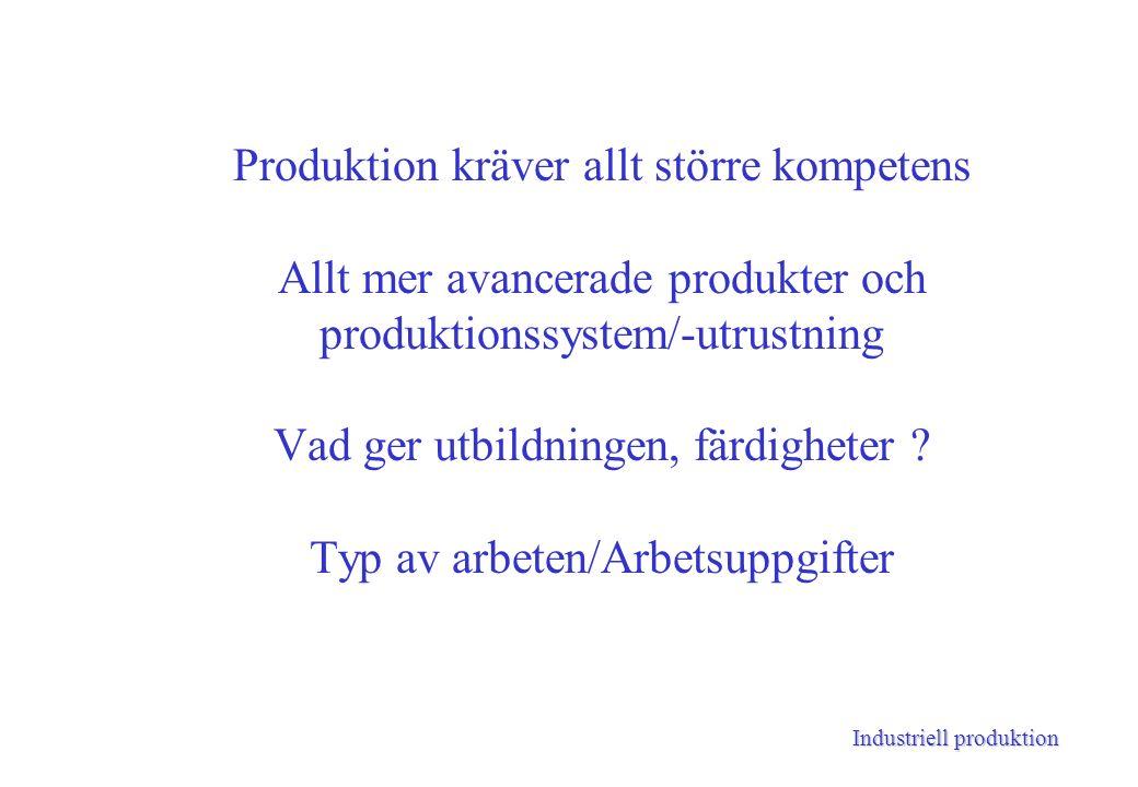Industriell produktion Produktion kräver allt större kompetens Allt mer avancerade produkter och produktionssystem/-utrustning Vad ger utbildningen, färdigheter .