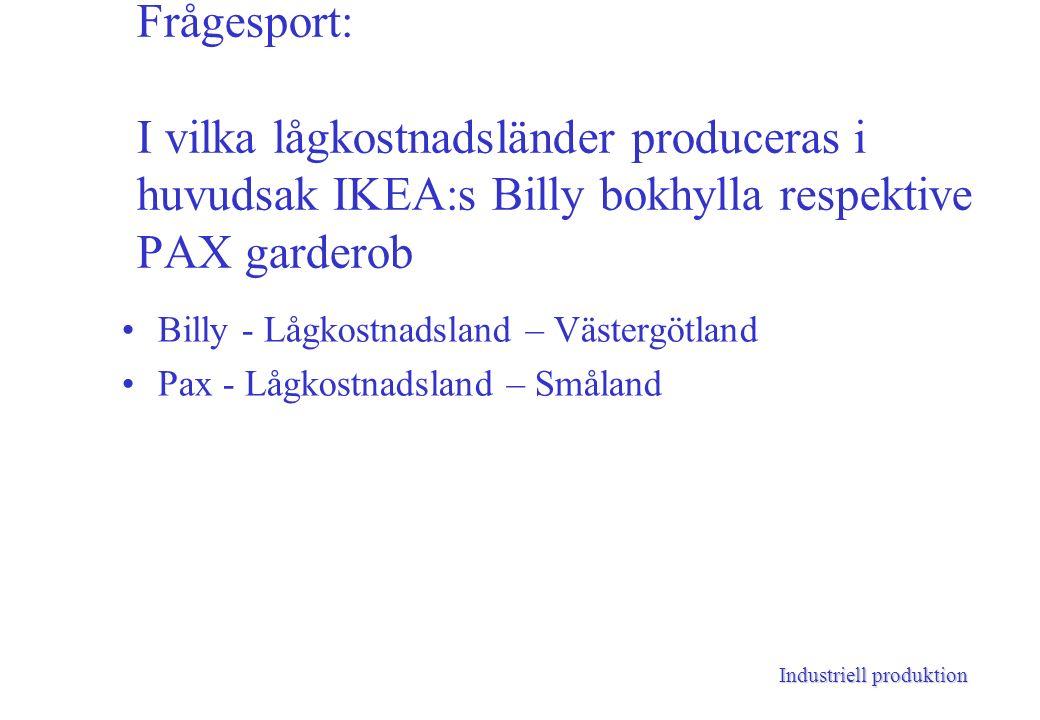 Industriell produktion Frågesport: I vilka lågkostnadsländer produceras i huvudsak IKEA:s Billy bokhylla respektive PAX garderob Billy - Lågkostnadsland – Västergötland Pax - Lågkostnadsland – Småland