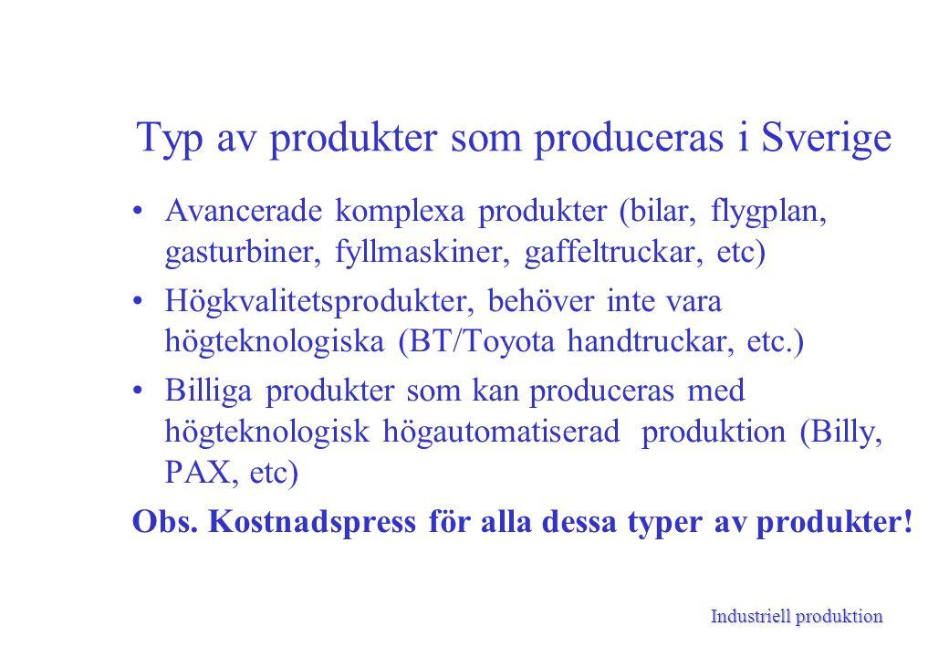 Industriell produktion Typ av produkter som produceras i Sverige Avancerade komplexa produkter (bilar, flygplan, gasturbiner, fyllmaskiner, gaffeltruckar, etc) Högkvalitetsprodukter, behöver inte vara högteknologiska (BT/Toyota handtruckar, etc.) Billiga produkter som kan produceras med högteknologisk högautomatiserad produktion (Billy, PAX, etc) Obs.