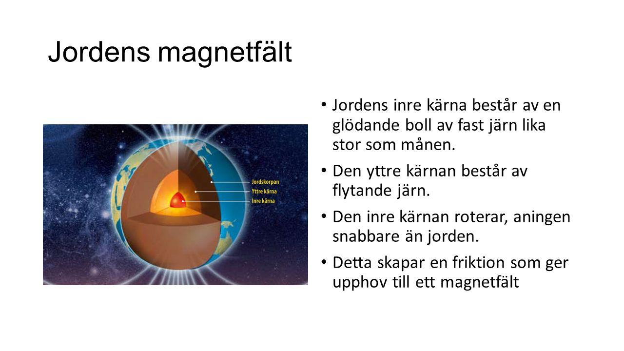 Jordens magnetfält Jordens inre kärna består av en glödande boll av fast järn lika stor som månen. Den yttre kärnan består av flytande järn. Den inre