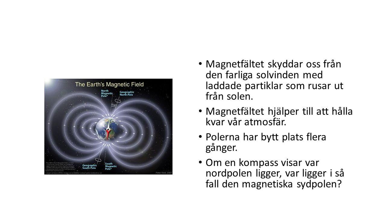 Magnetfältet skyddar oss från den farliga solvinden med laddade partiklar som rusar ut från solen. Magnetfältet hjälper till att hålla kvar vår atmosf