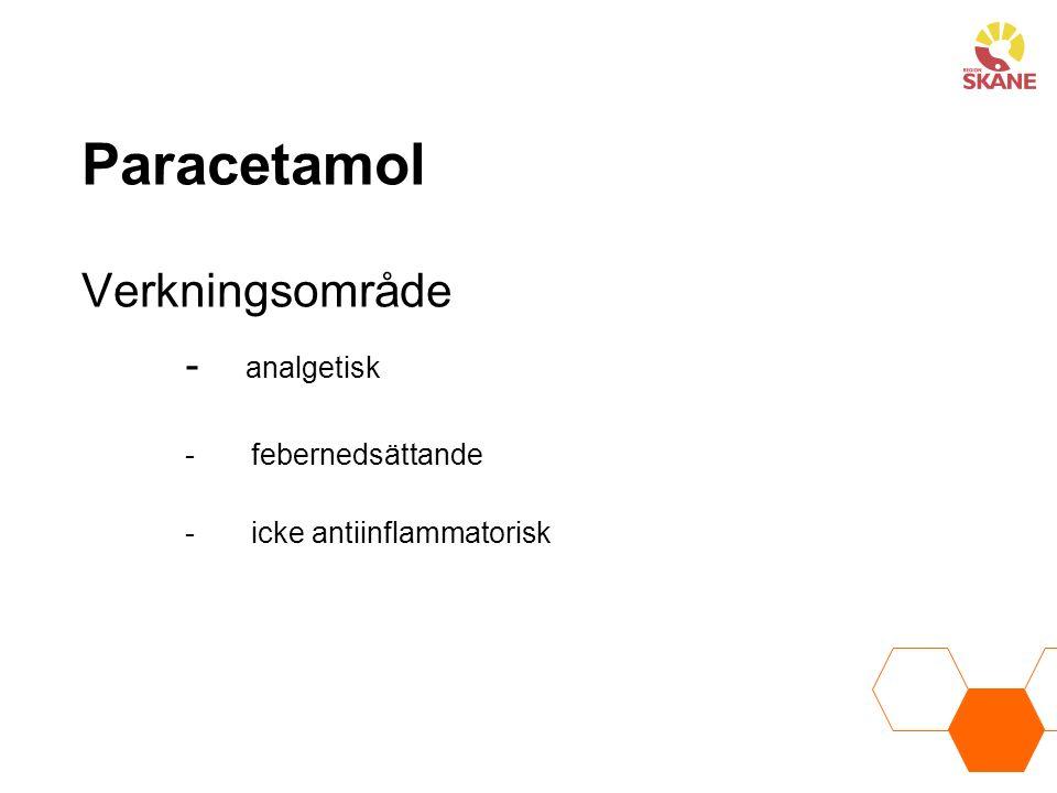 Paracetamol Verkningsområde - analgetisk - febernedsättande - icke antiinflammatorisk
