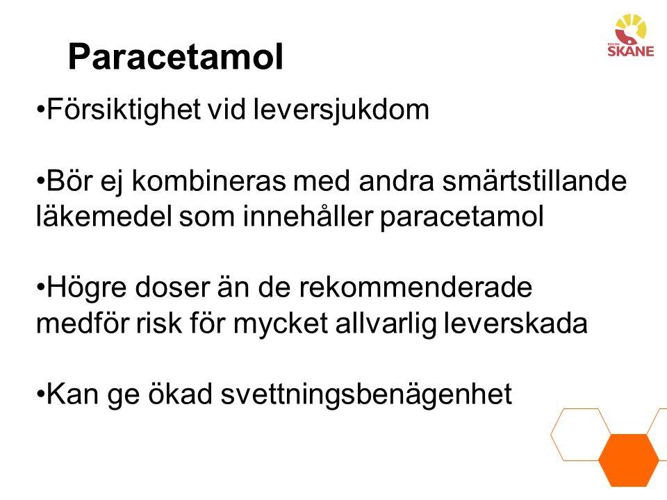 Paracetamol Försiktighet vid leversjukdom Bör ej kombineras med andra smärtstillande läkemedel som innehåller paracetamol Högre doser än de rekommenderade medför risk för mycket allvarlig leverskada Kan ge ökad svettningsbenägenhet
